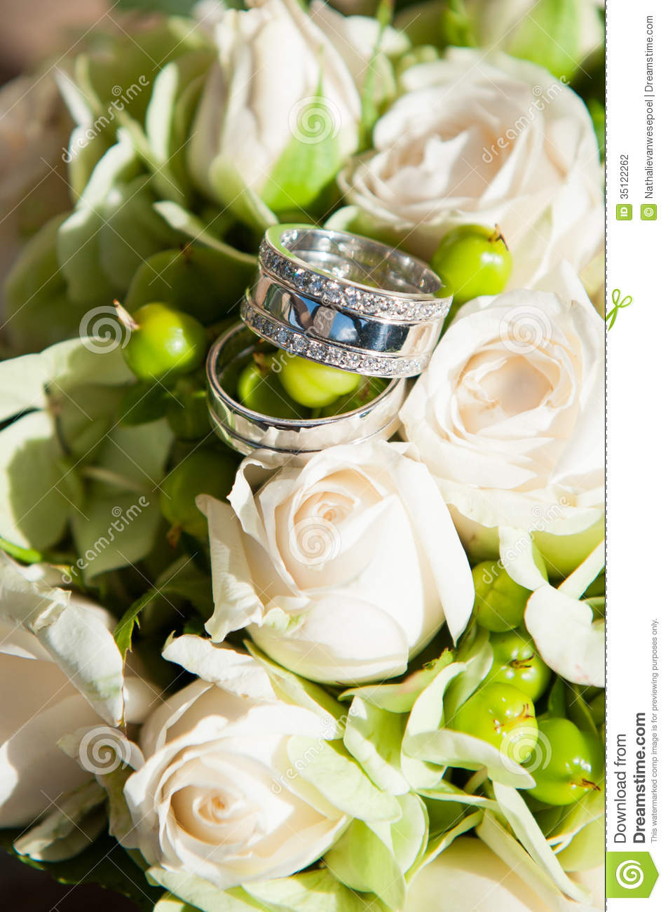 Wedding Rings In Flowers Stock Photo Image Of Beautiful