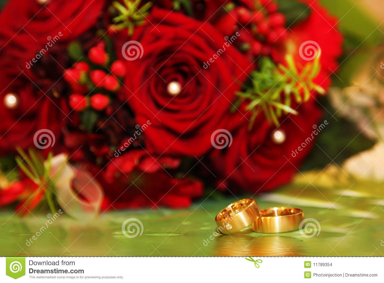 Wedding Rings And Red Roses Stock Photo Image 11789354