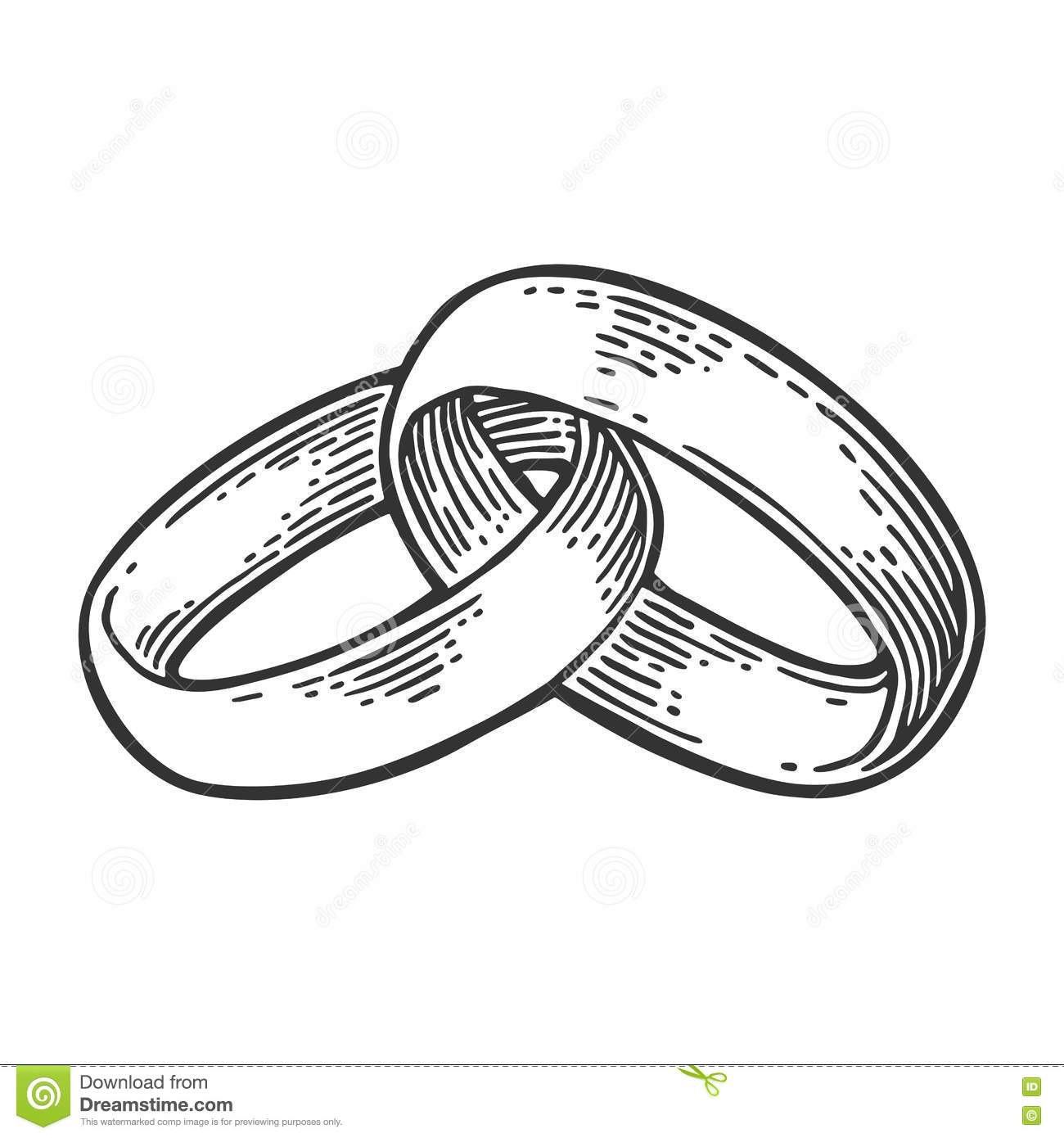 Wedding Rings Vintage Black Vector Engraving Illustration