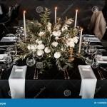 Wedding Table Setting In Black And White Stock Image Image Of Mums Elegant 134983337