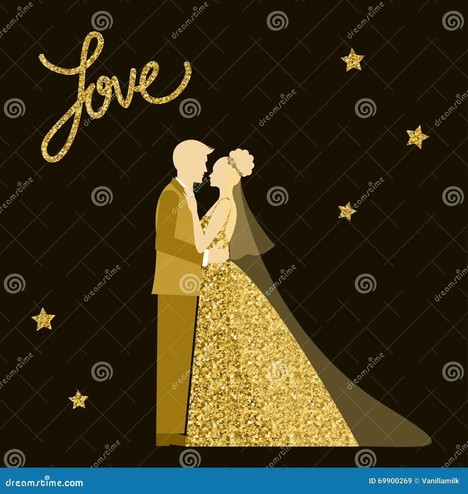 Wedding Theme Bride And Groom Golden Sparkle Glitter