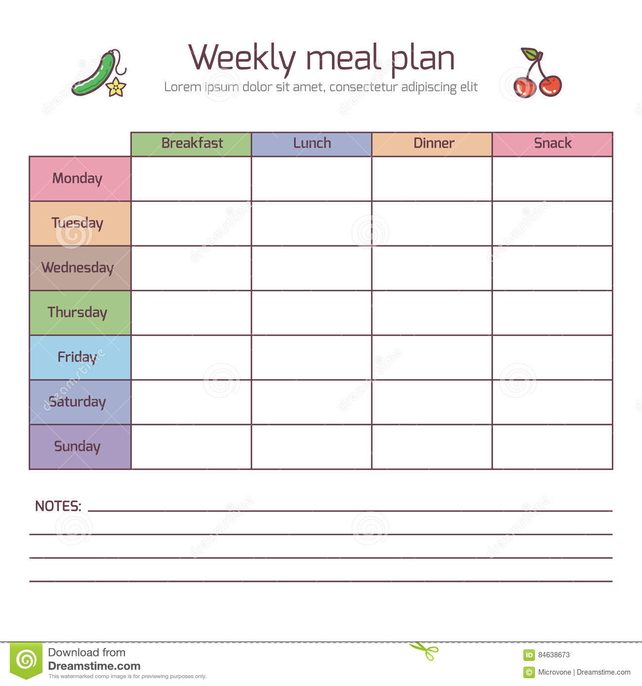 Weekly Meal Plan Mealtime Vector Diary Stock Vector