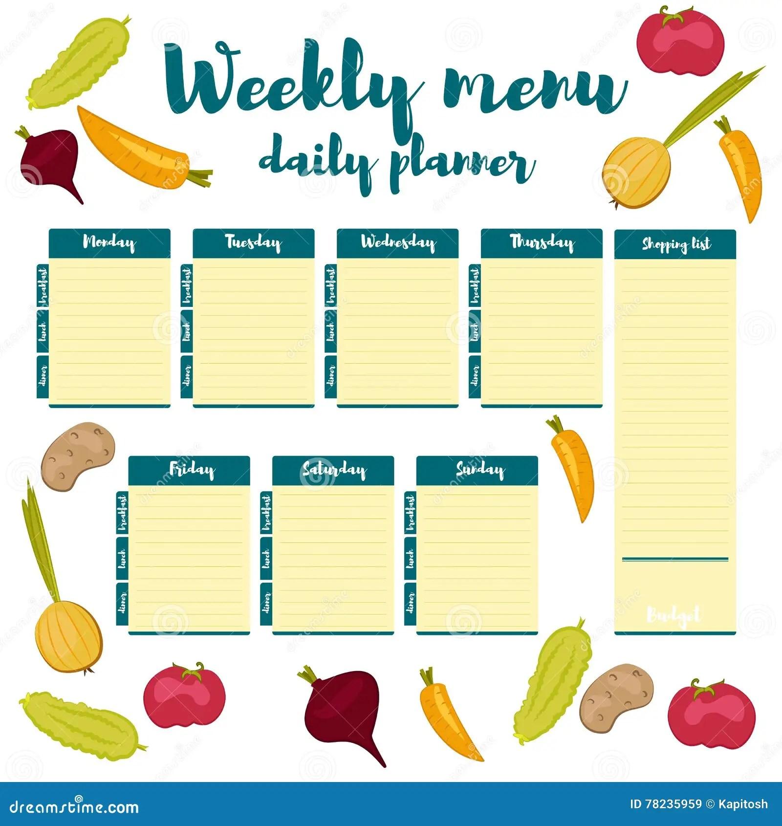 Weekly Menu Blue Daily Planner Stock Vector