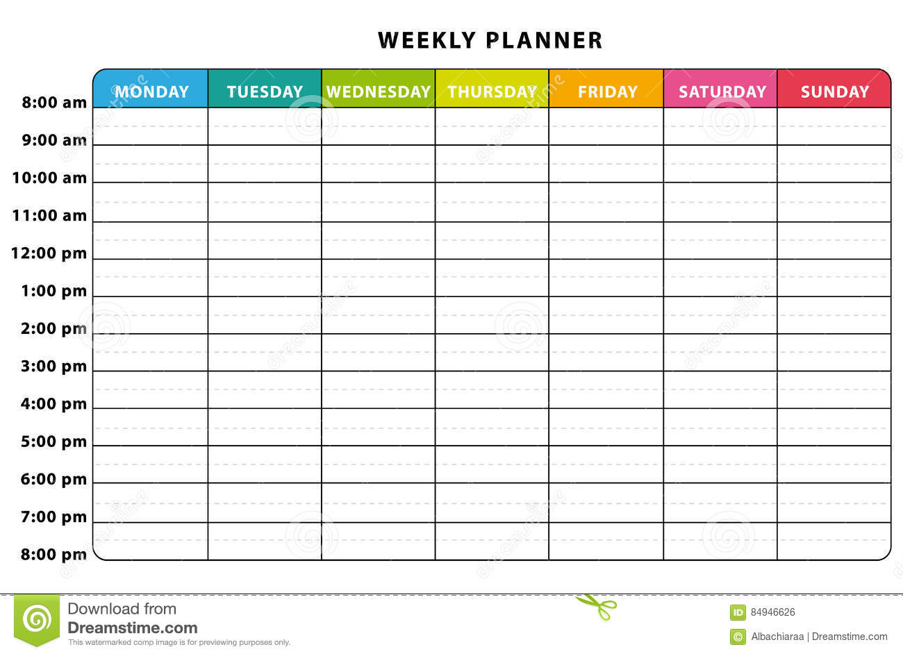 Weekly Planner Stock Vector Illustration Of English