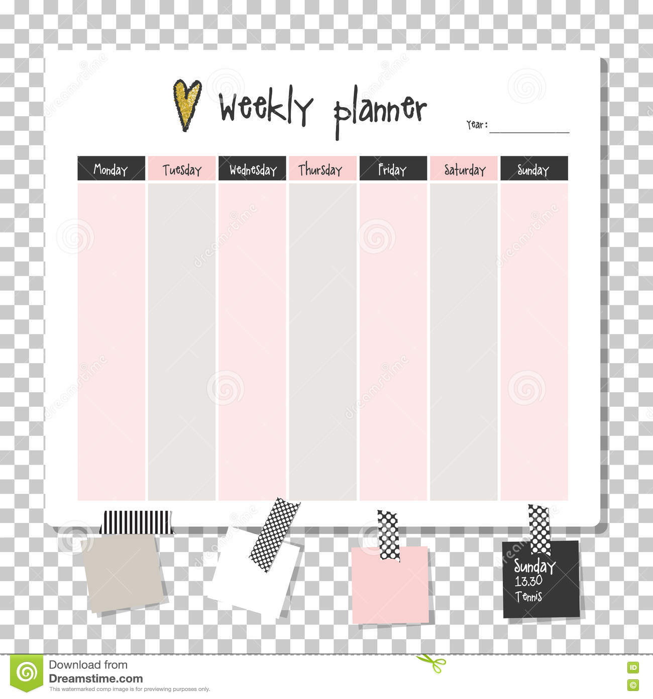 Weekly Planner Note Paper Stock Illustration