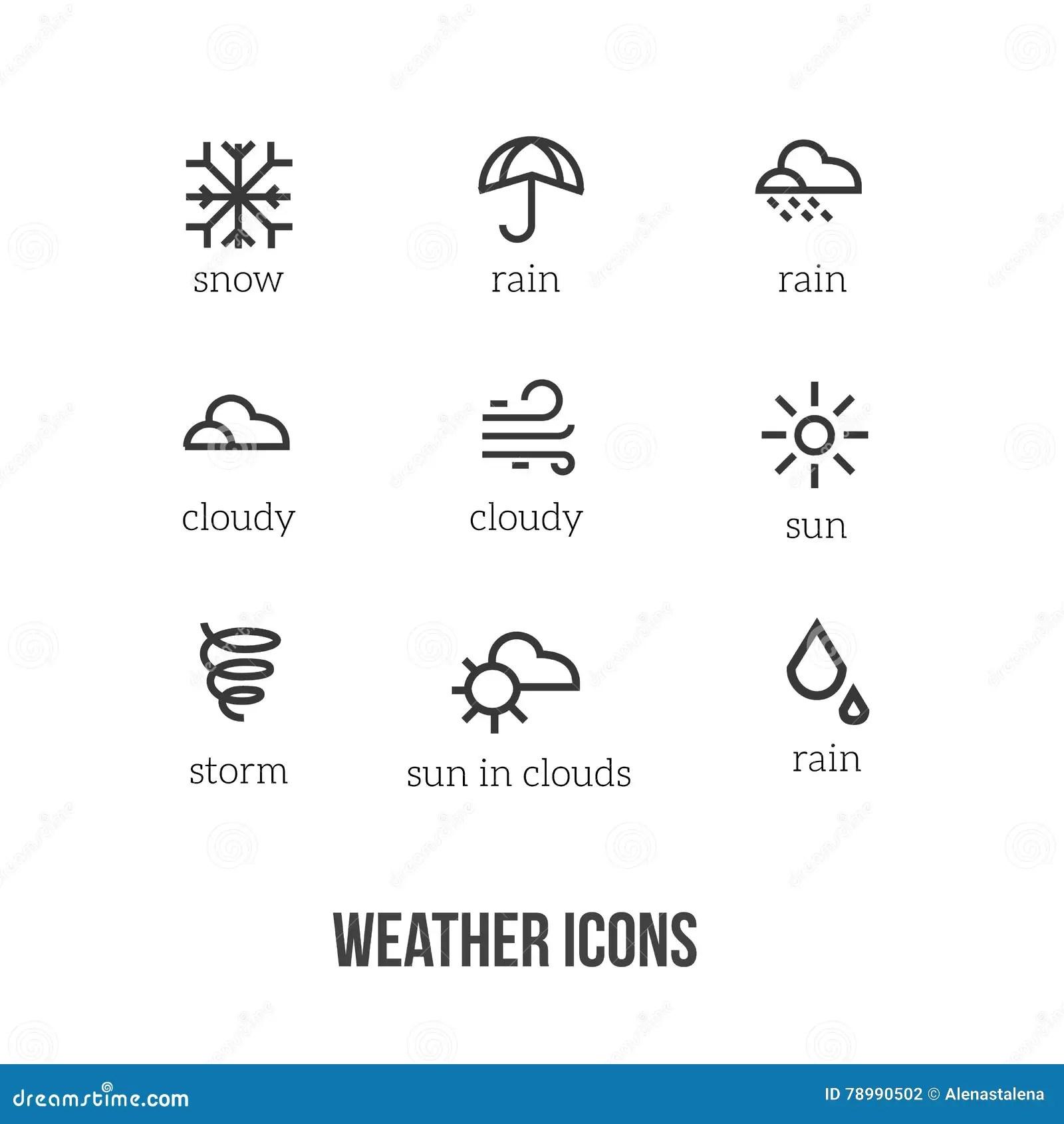 Weerpictogrammen Met Hoofdsymbolen Van Sneeuw Regen Zon Wolk Onweer Perfectioneer Voor