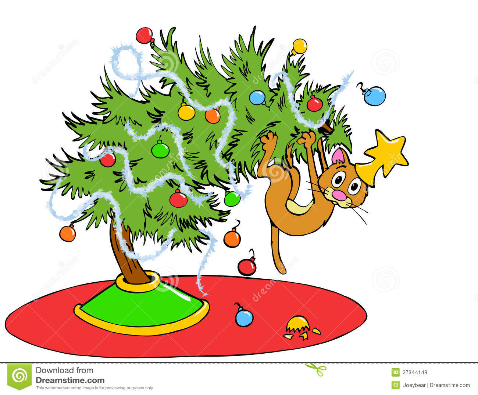 Weihnachtsbaum Katze Vektor Abbildung Illustration Von