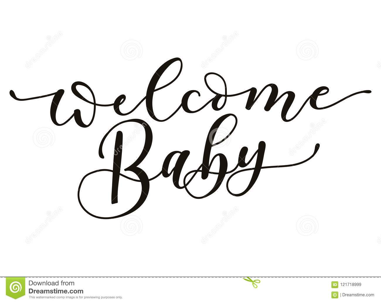 Welcome Baby Lettering Inscription Isolated On White