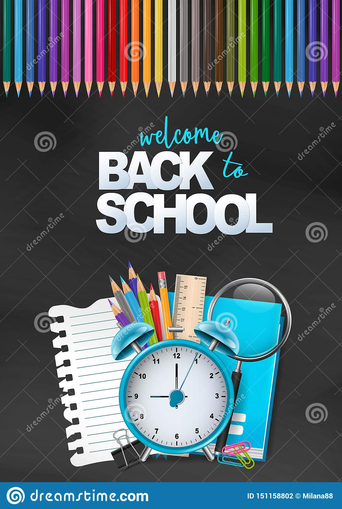https www dreamstime com welcome back to school colorful poster education flyer advertisement magazine book cover website pile stationery wit image151158802