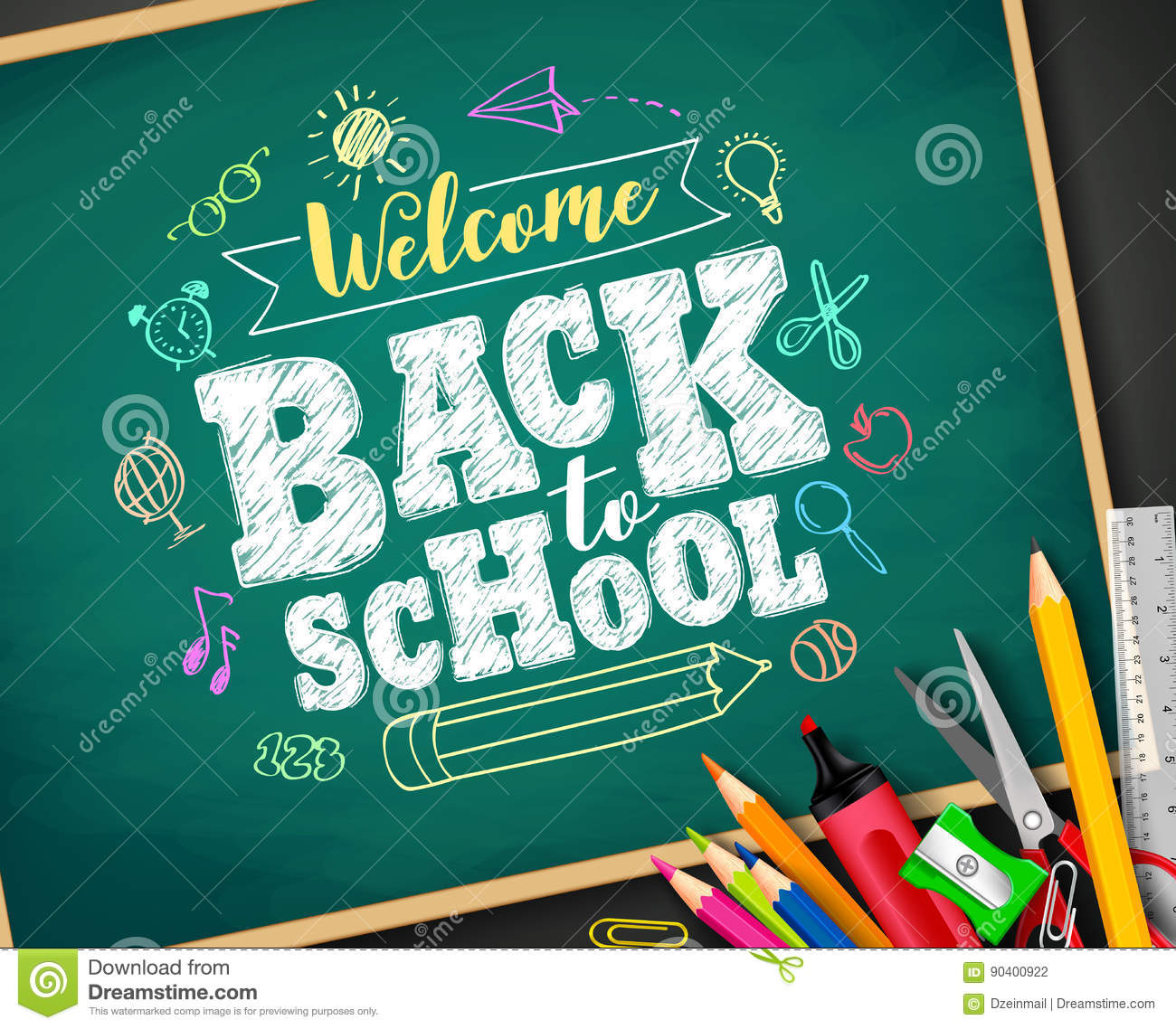 Welcome Back To School Text Drawing By Colorful Chalk In