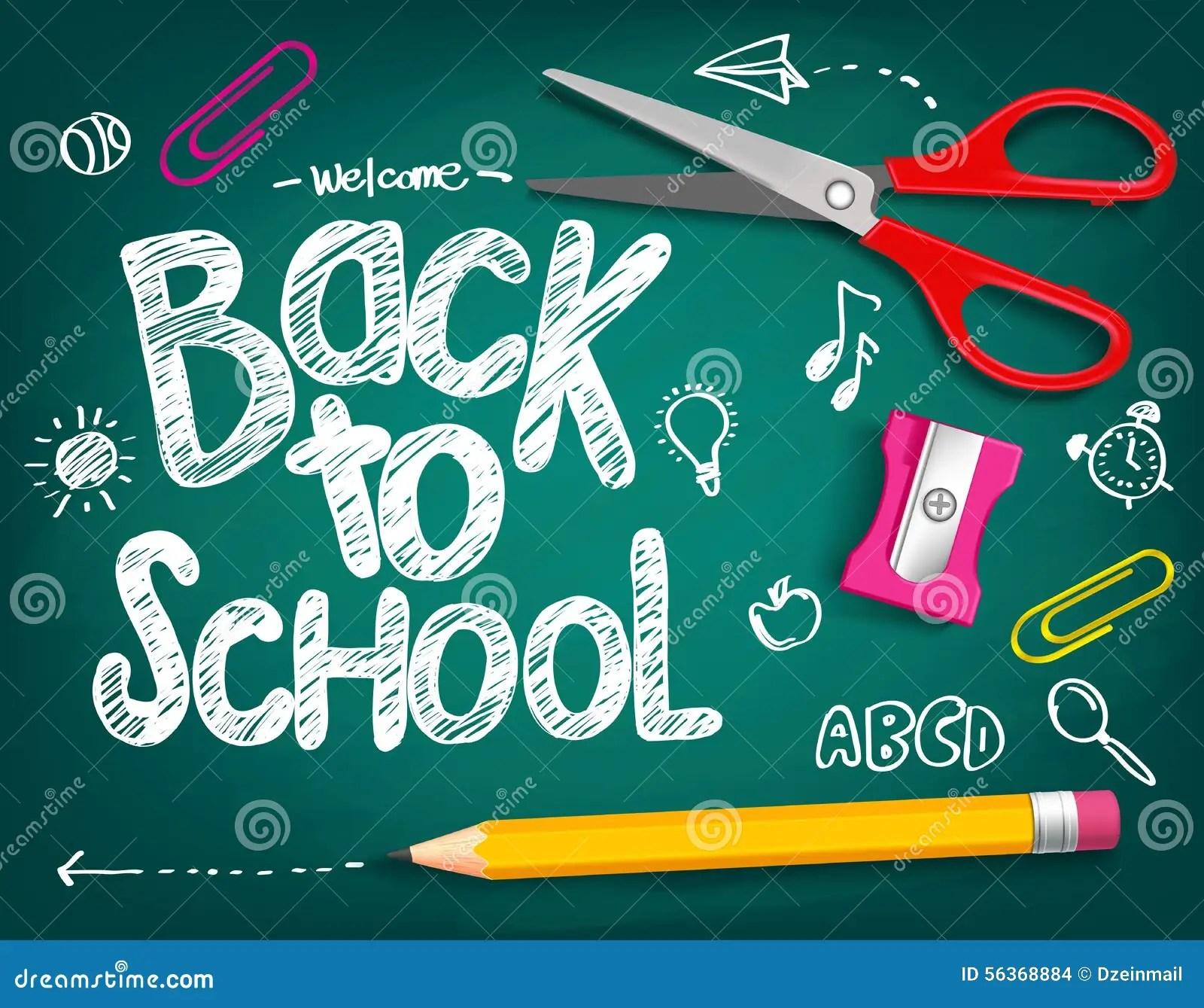 Welcome Back To School Title Written In A Chalk Board