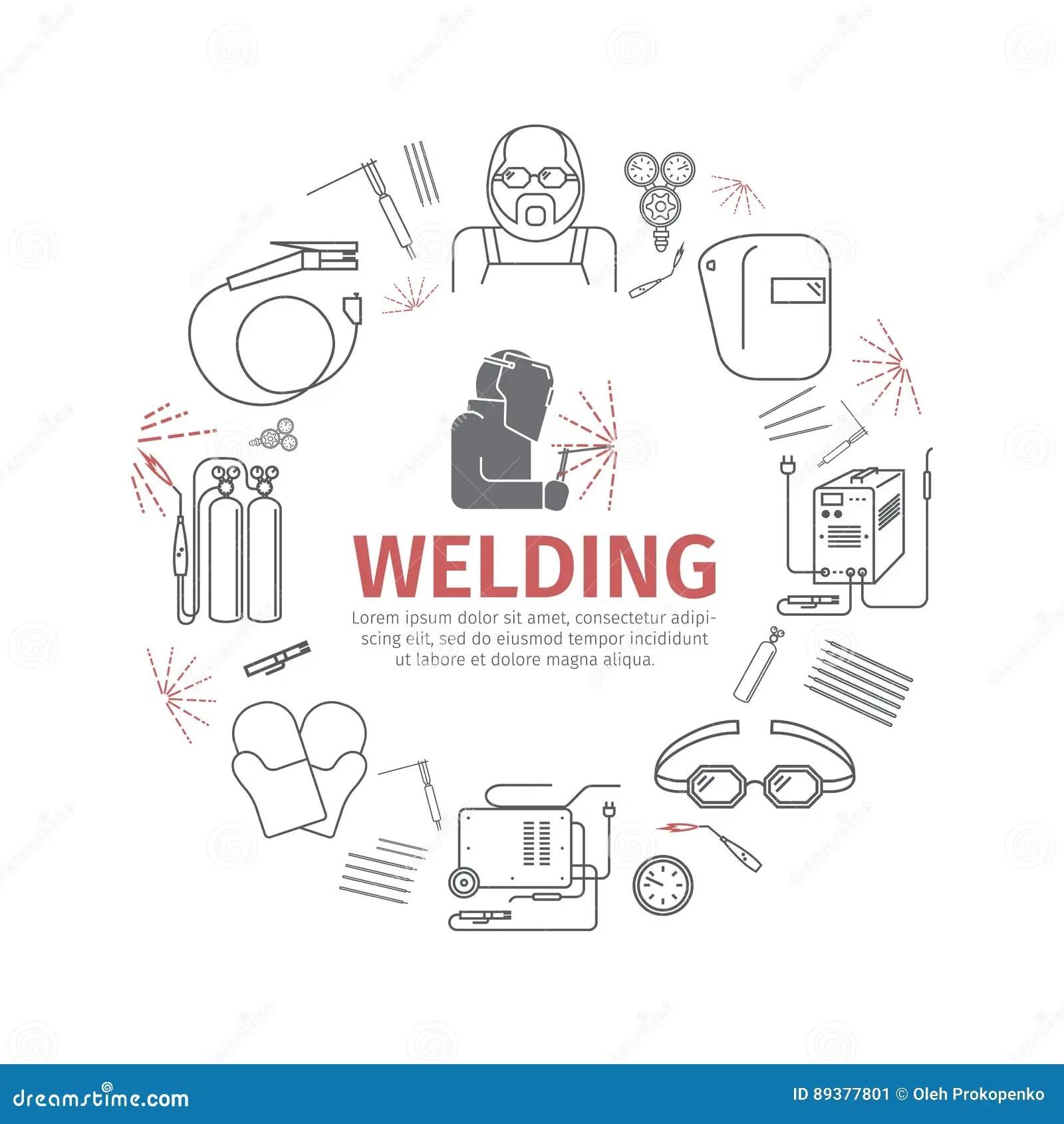 set icons of welding cartoon vector