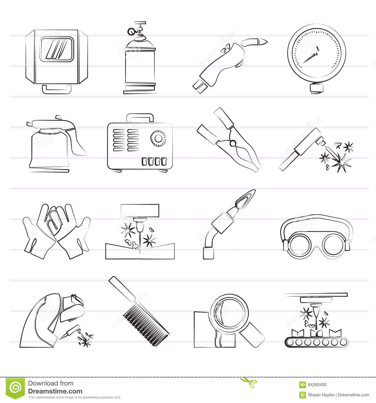 Welding And Construction Tools Icons Stock Vector