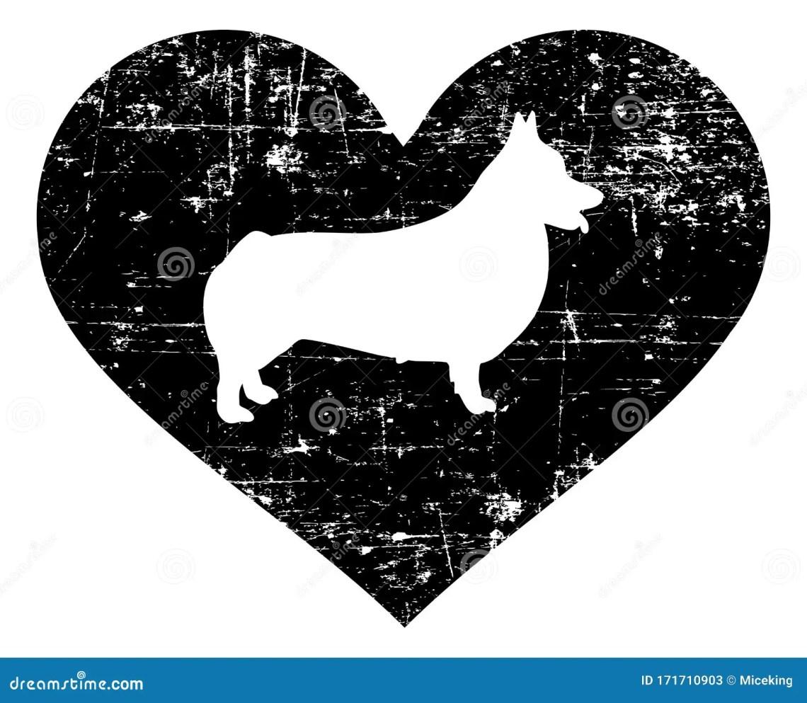 Download Welsh Corgi Pembroke In Heart Black And White Stock Vector ...