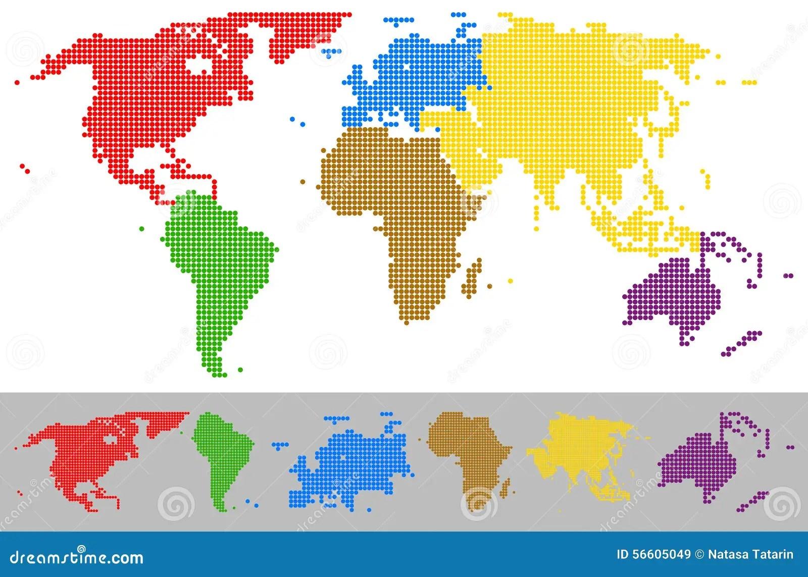 Weltkarte Punktierte Bunte Kontinente Vektor Abbildung