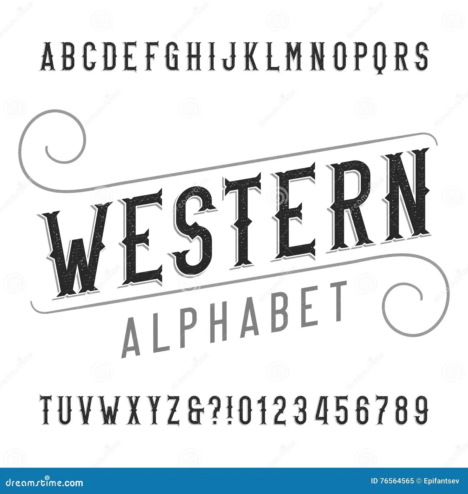 Western Style Retro Alphabet Font Distressed Serif Type