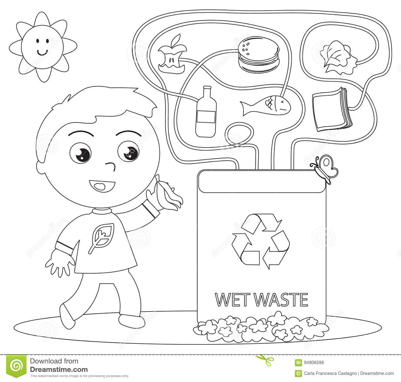 Wet Waste Recycling Coloring Game Stock Vector