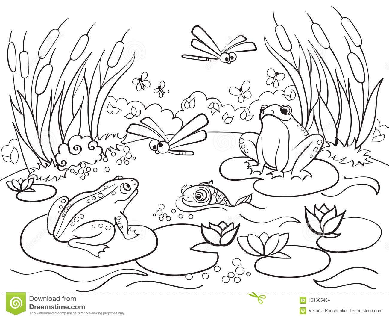 Wetland Landscape With Animals Coloring Raster For Adults