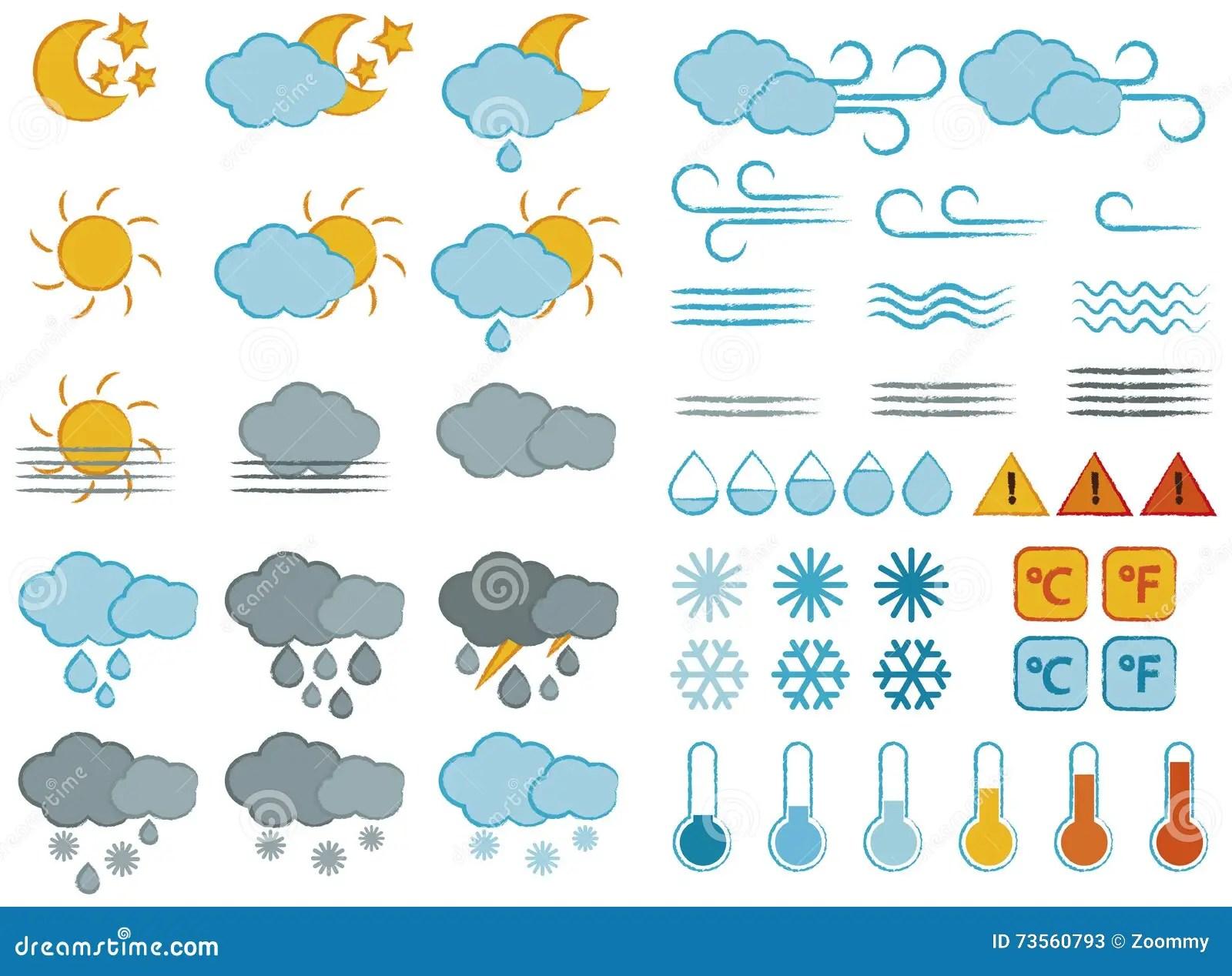 Wettersymbole Und Ikonen Eingestellt Vektor Abbildung