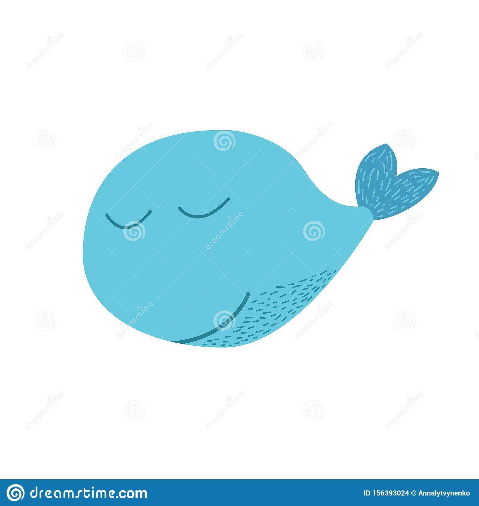 Whale Animal In Doodle Style Stock Illustration