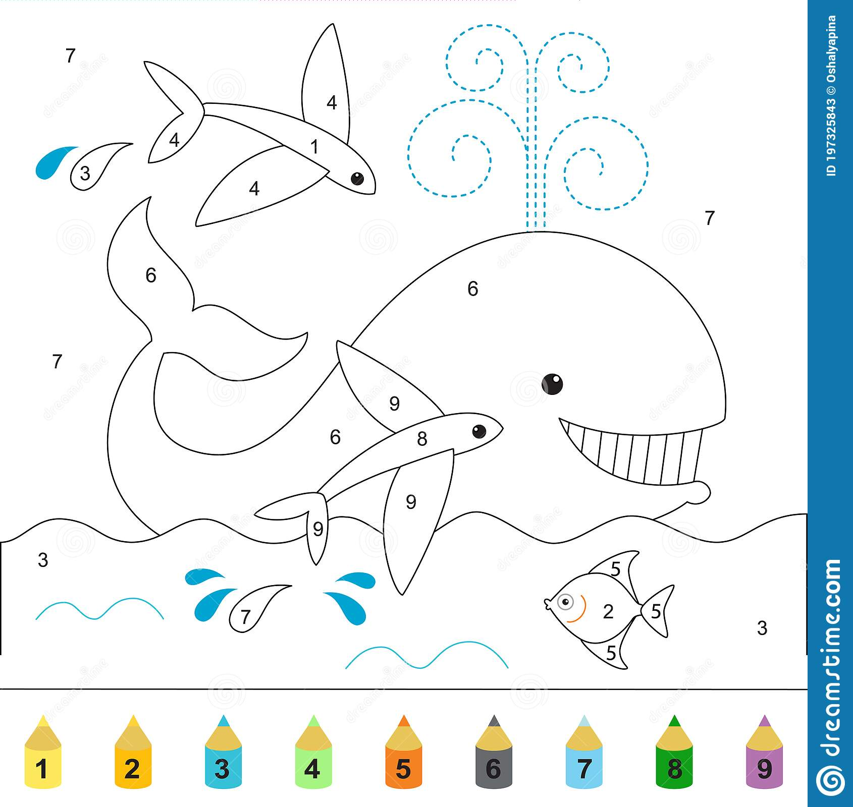 Whale And Flying Fish Funny Ocean World Coloring Book