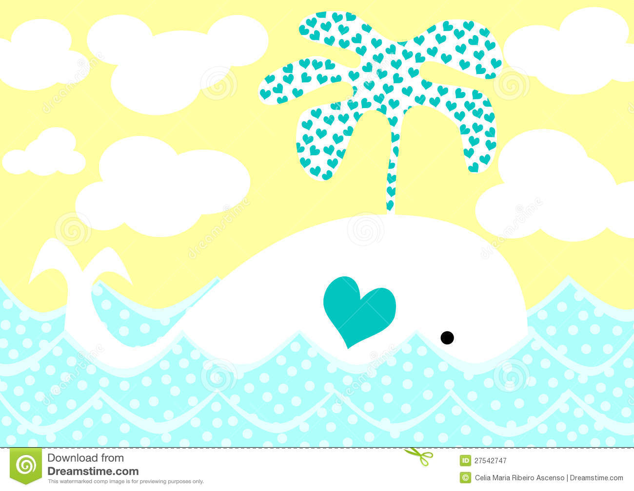 Blue Little Whale Greeting Card Happy Birthday Cartoon
