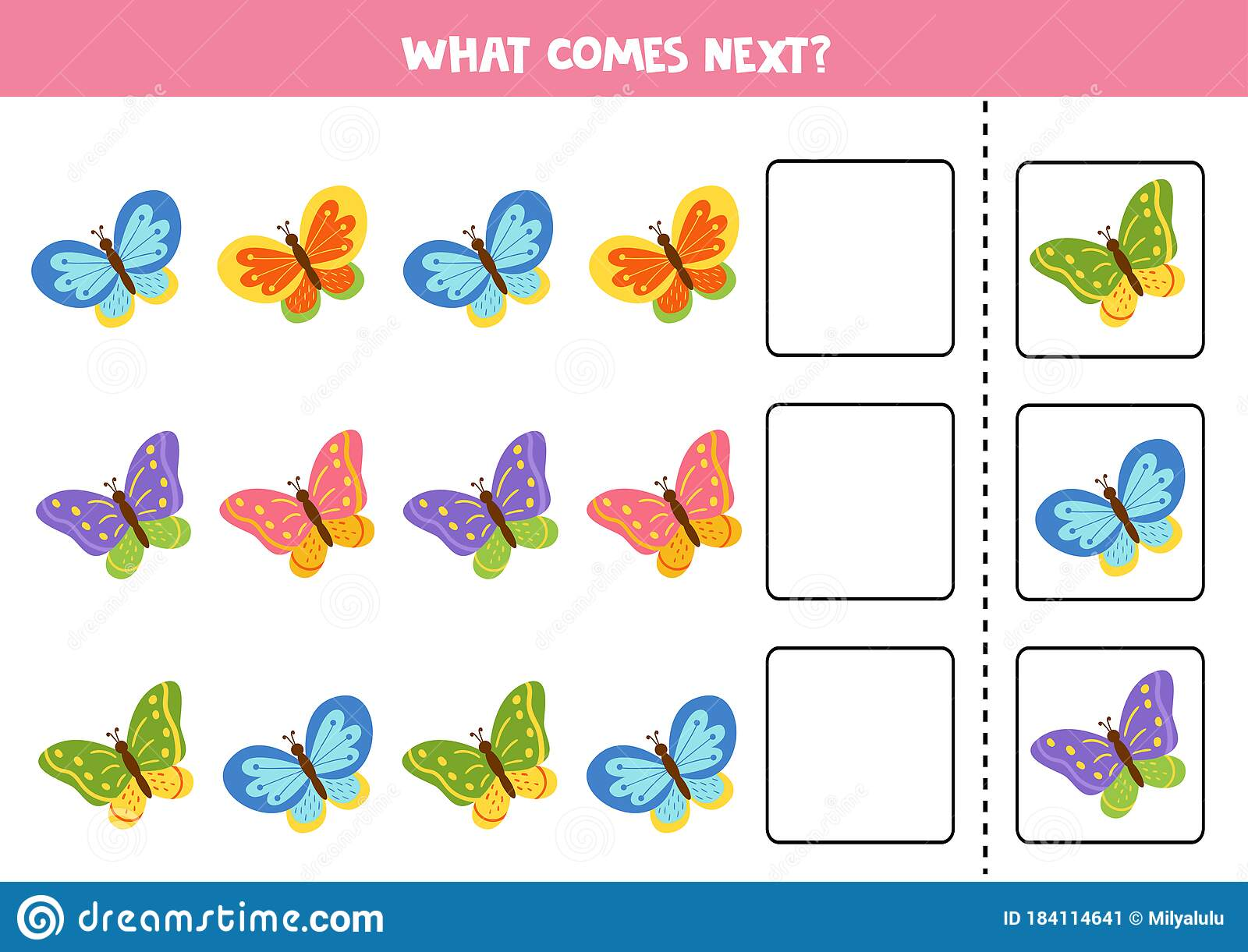What Butterfly Comes Next Educational Puzzle For Kids