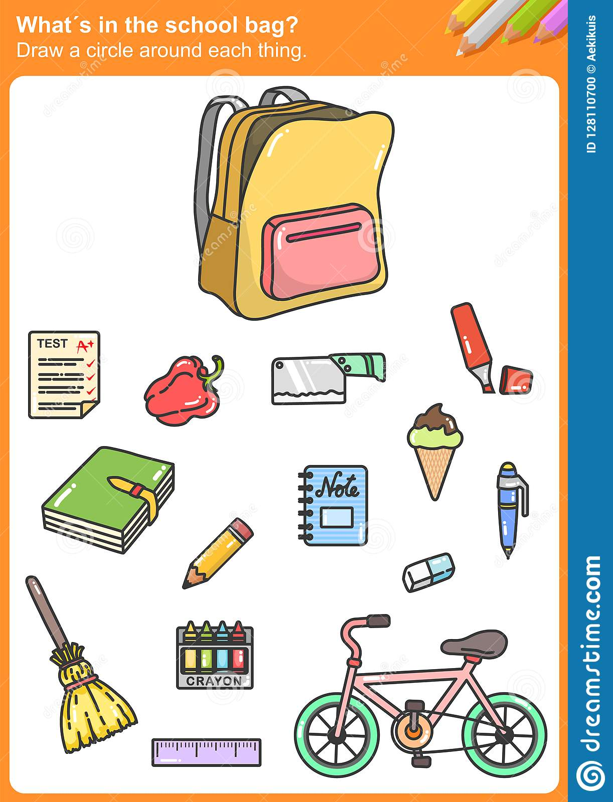What S In The School Bag Draw A Circle Around Each Thing