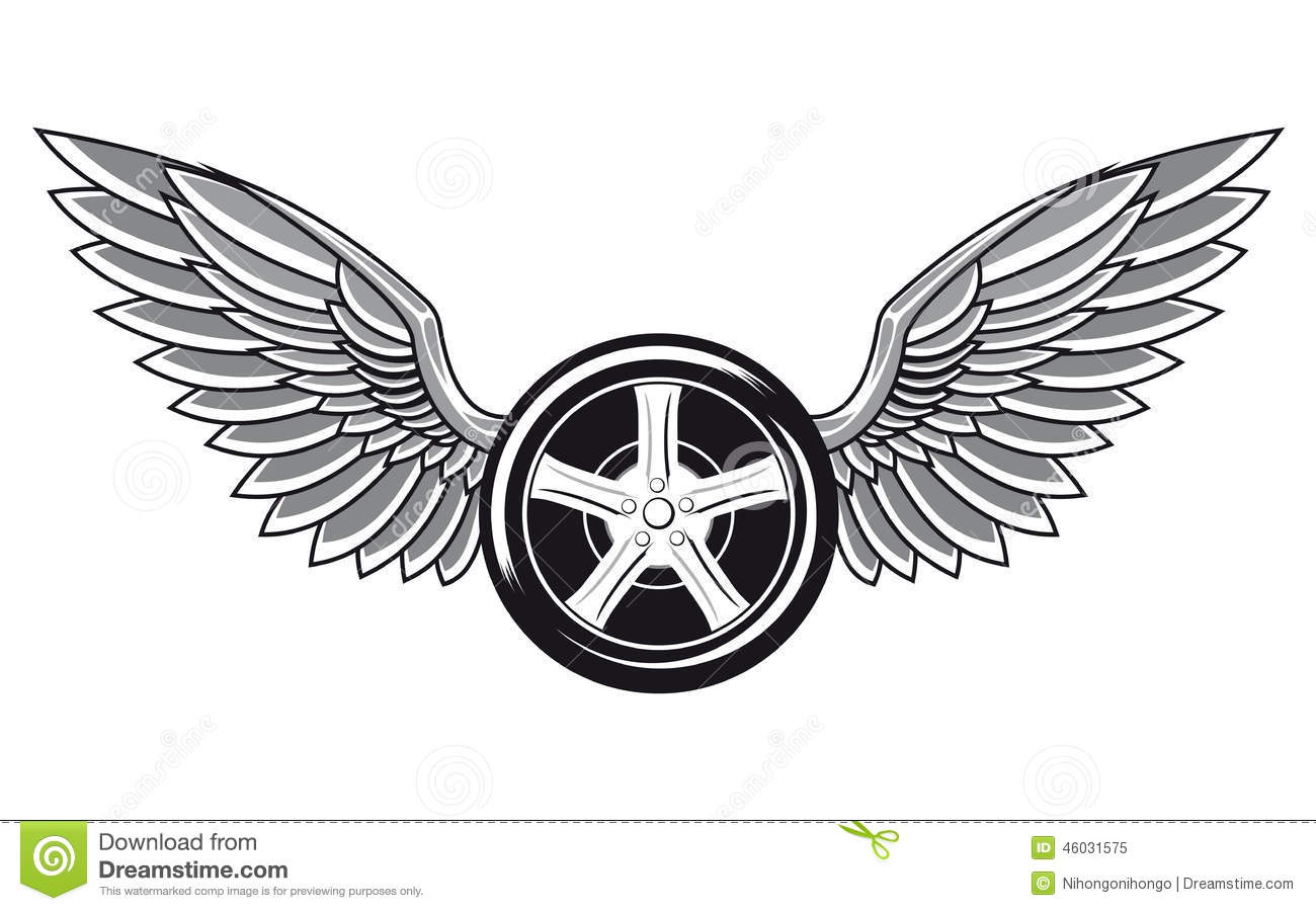 Wheel Tyre With Wings Stock Vector Illustration Of