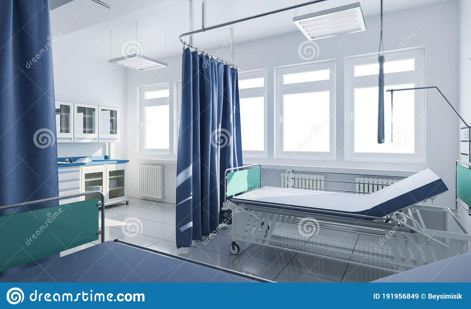 wheeled bed behind privacy curtains in a medical clinic stock illustration illustration of heater healthcare 191956849