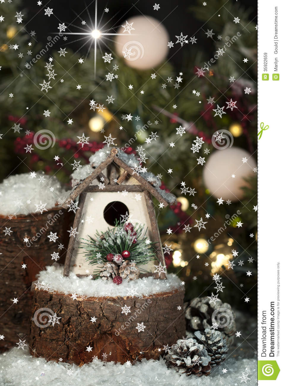 Whimsical Christmas Birdhouse 2 Stock Image Image Of