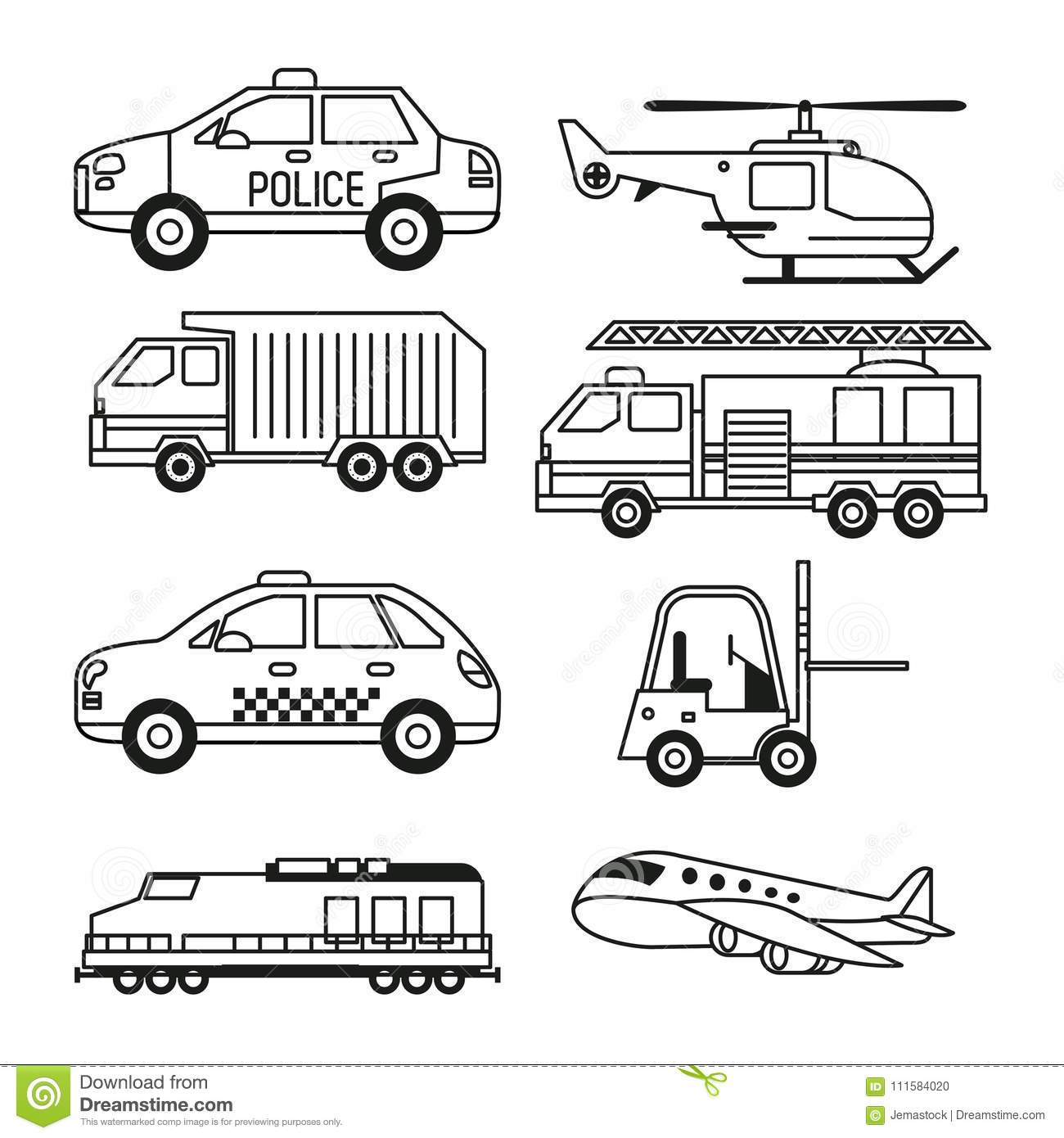 White Background With Monochrome Set Of Vehicles Of Public