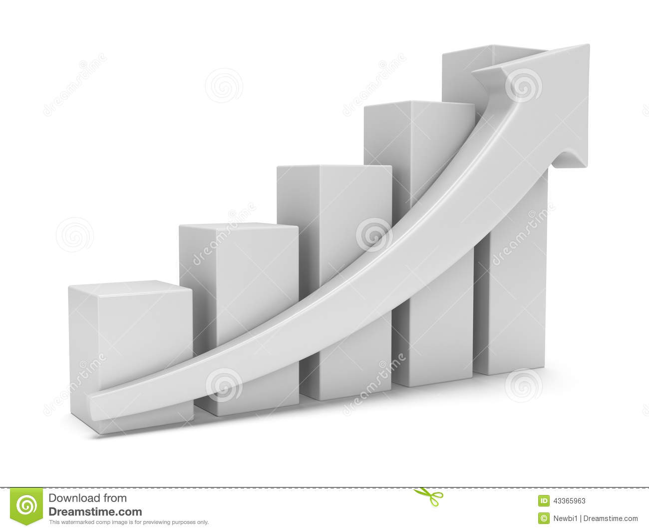 White Bar Graph With Red Arrow Stock Illustration