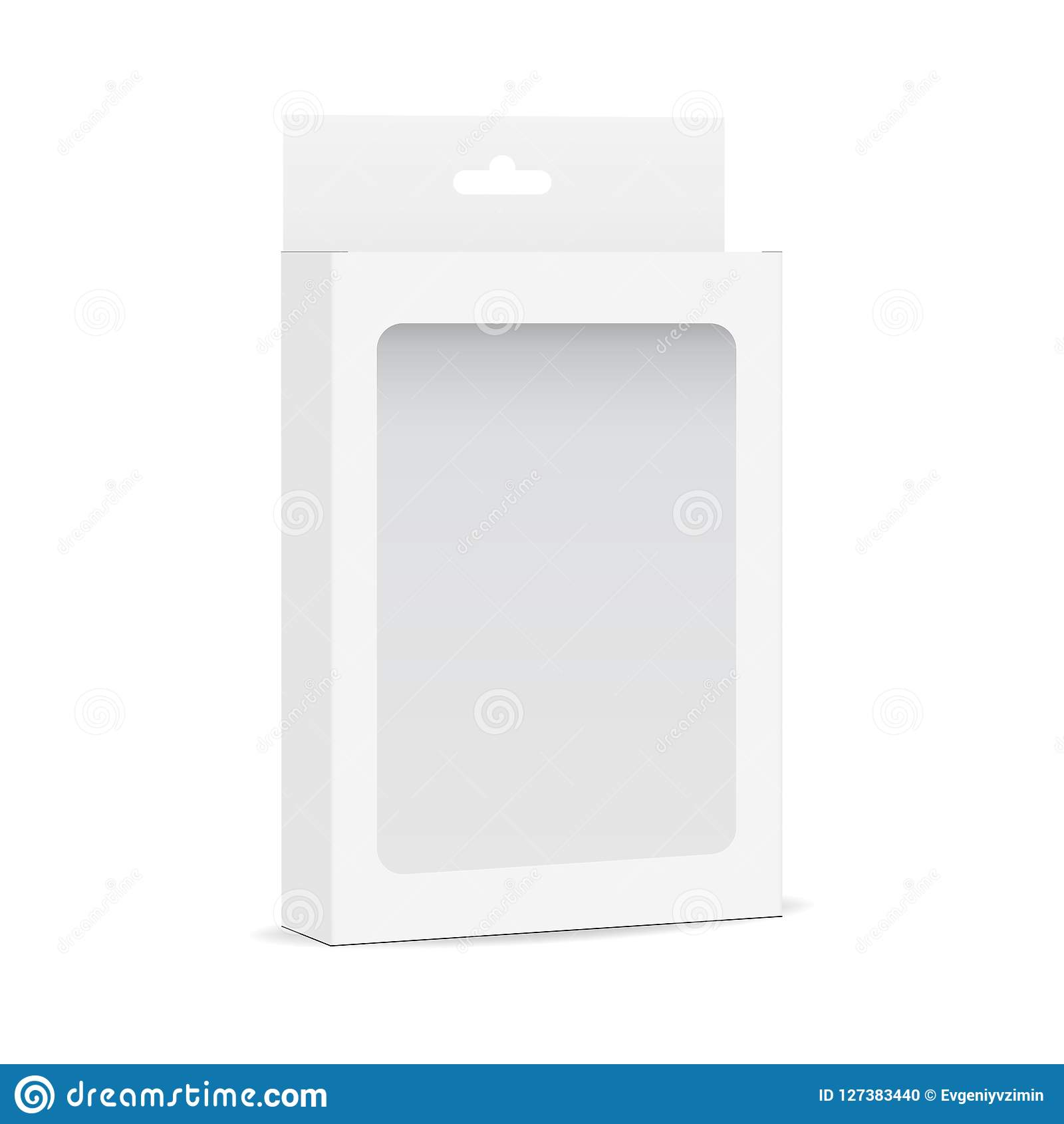White Blank Box Mockup With Transparent Window And Hanging