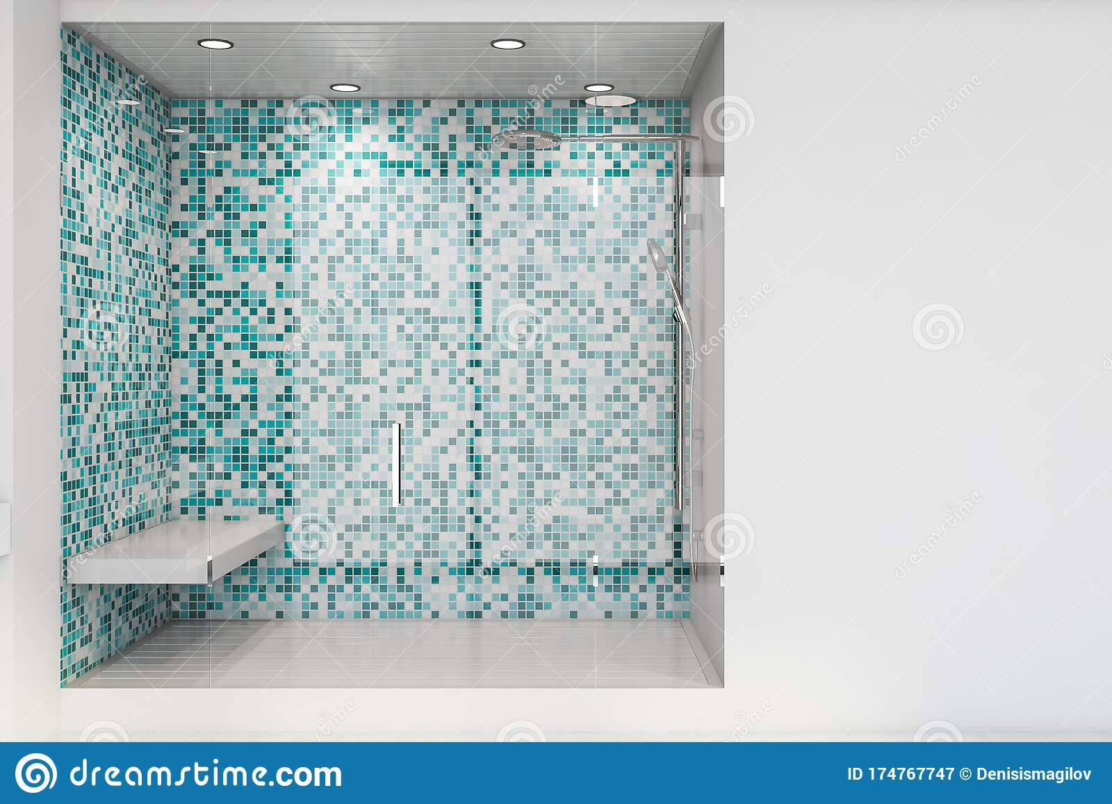 https www dreamstime com white blue tile shower stall interior modern bathroom tiled walls glass door comfortable bench concept spa d rendering image174767747