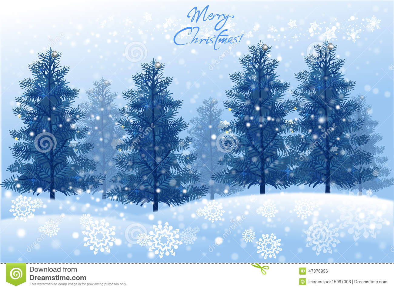 White Christmas Landscape With Winter Tree Vector Eps10