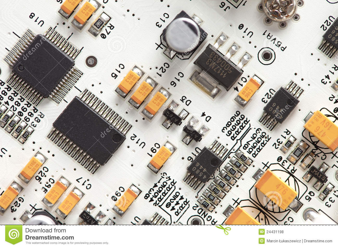 White Electronic Circuit Board. Top Royalty Free Stock