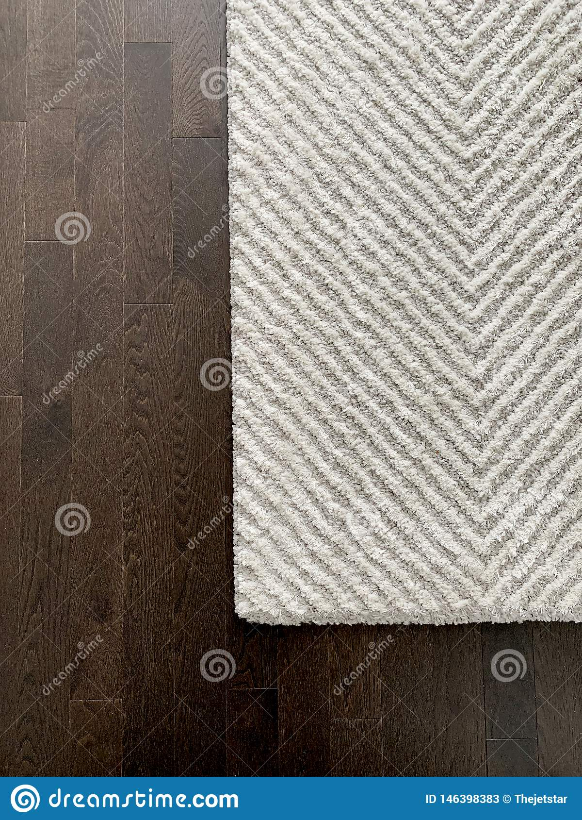 White And Grey Chevron Rug On Dark Harwood Floor Texture Master Bedroom In Modern Luxury Home Stock Image Image Of Carpet Grey 146398383