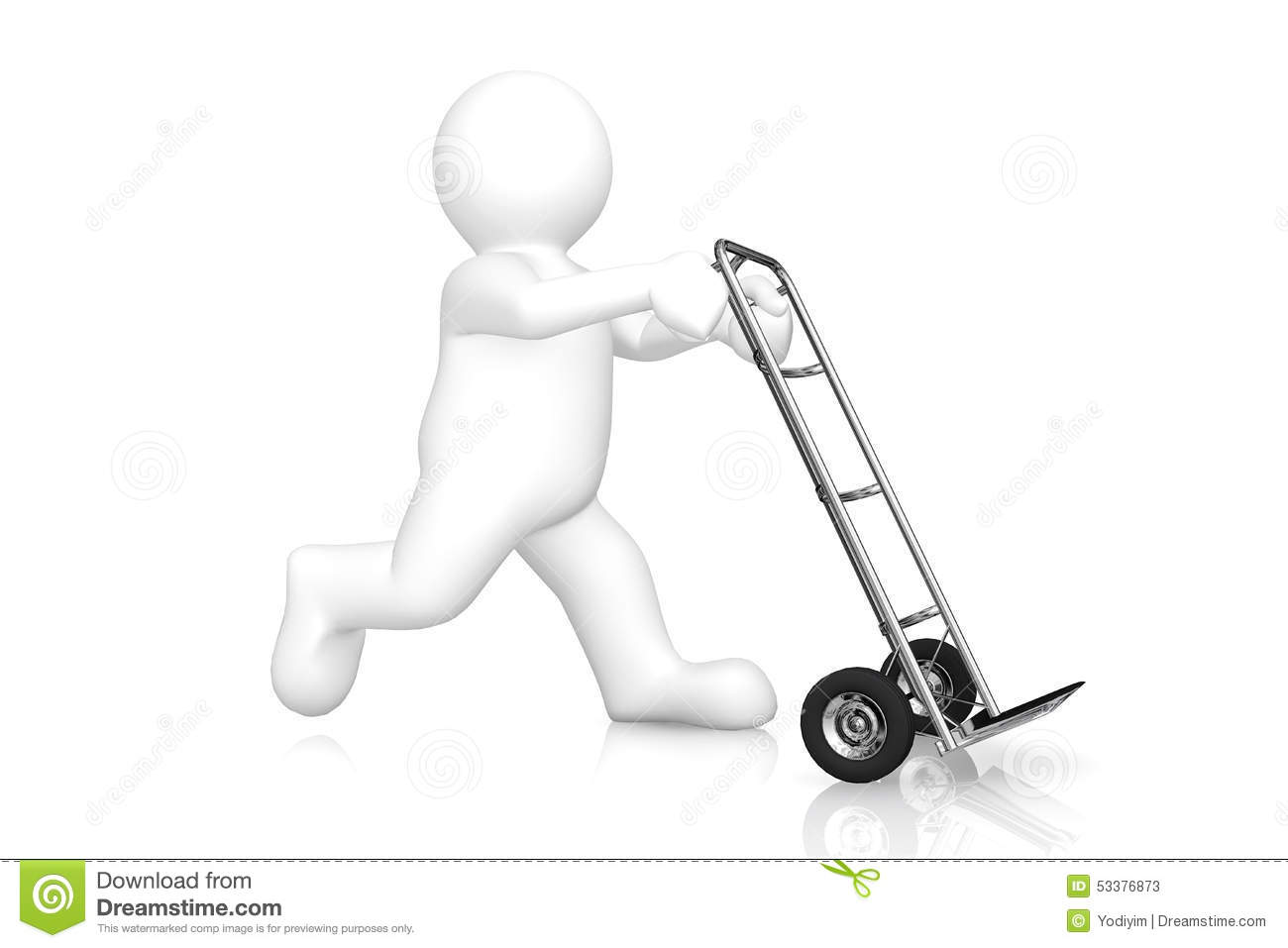 White Man And Hand Truck With Clipping Path Stock