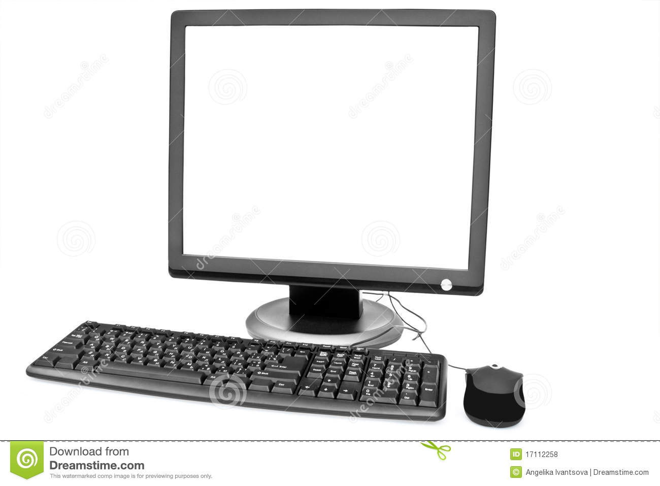 White Monitor Keyboard And Mouse Stock Photo