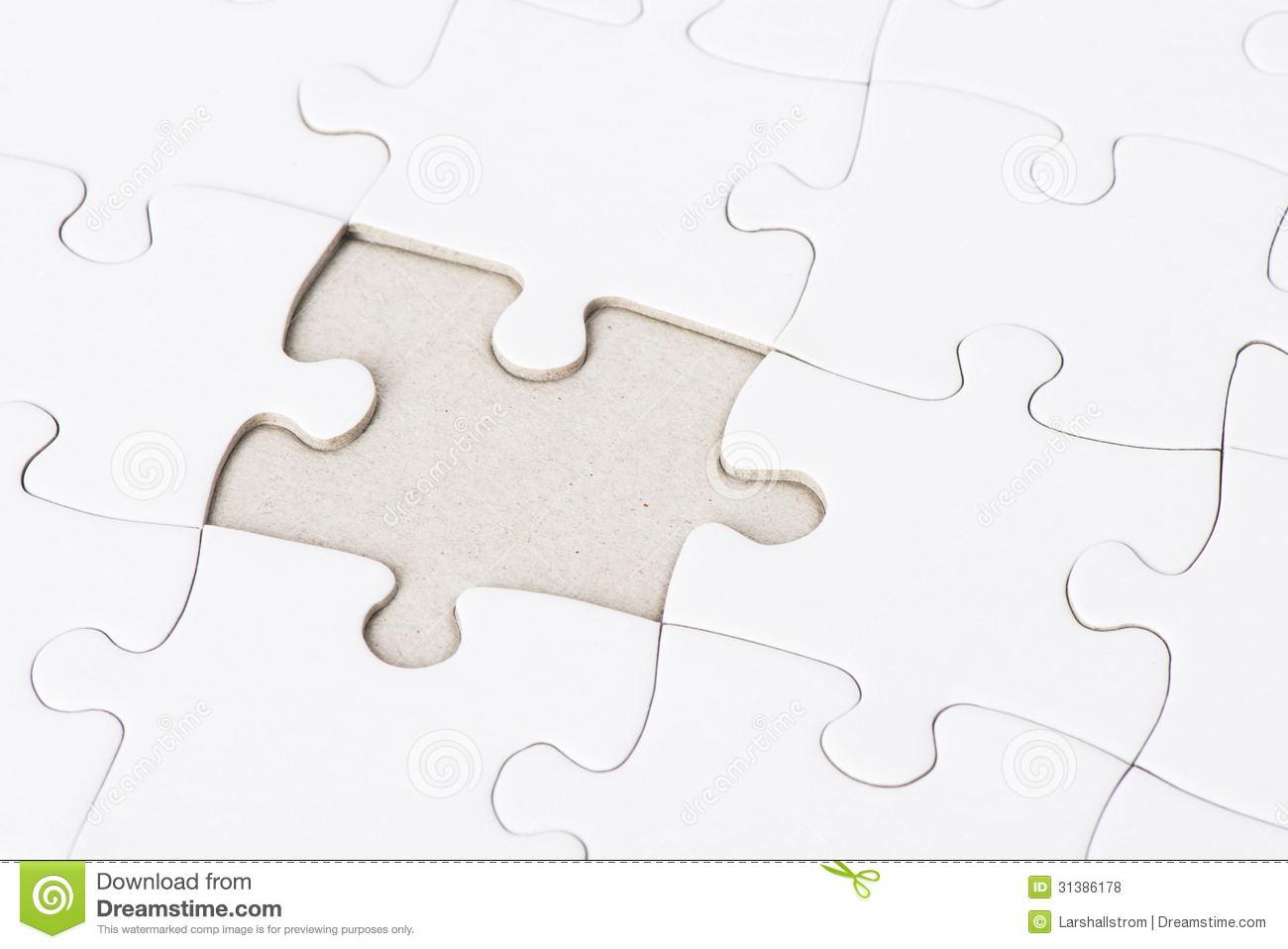 White Puzzle With One Missing Piece Royalty Free Stock