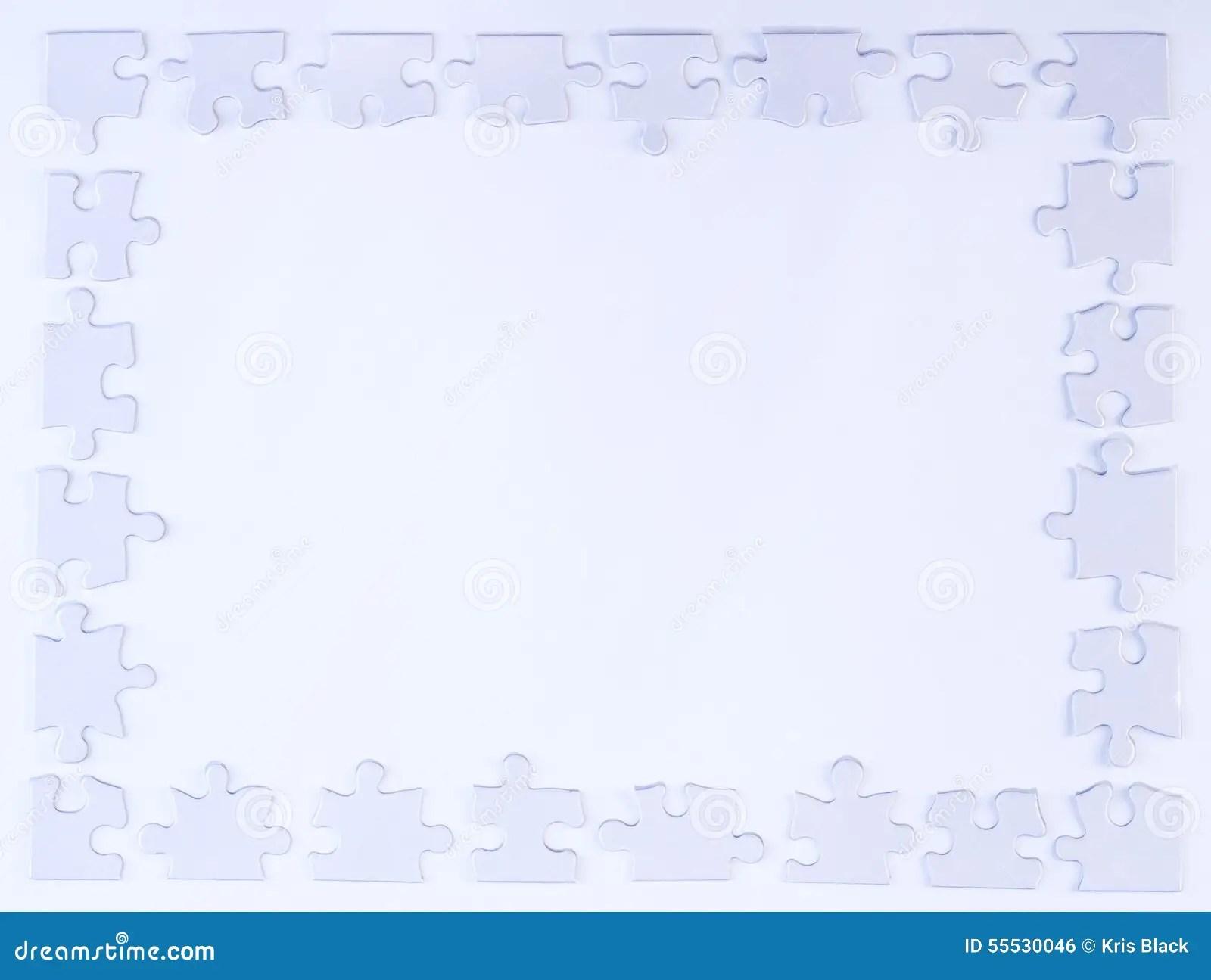 White Puzzle Piece Border Stock Photo