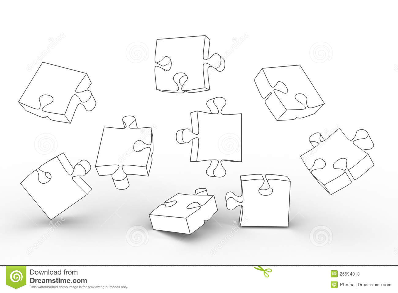 White Puzzle Pieces Stock Illustration Illustration Of