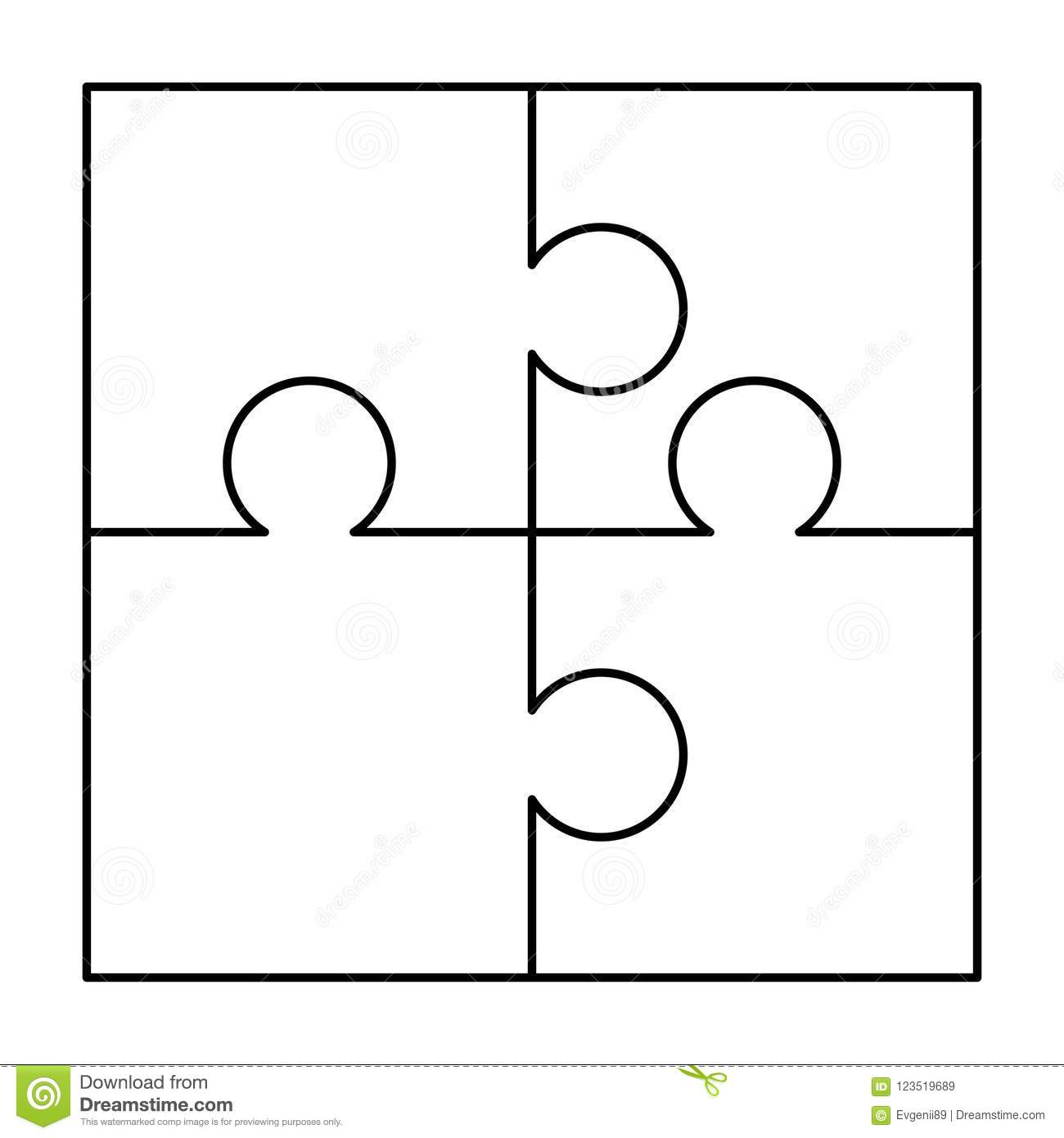 4 White Puzzles Pieces Arranged In A Square Jigsaw Puzzle