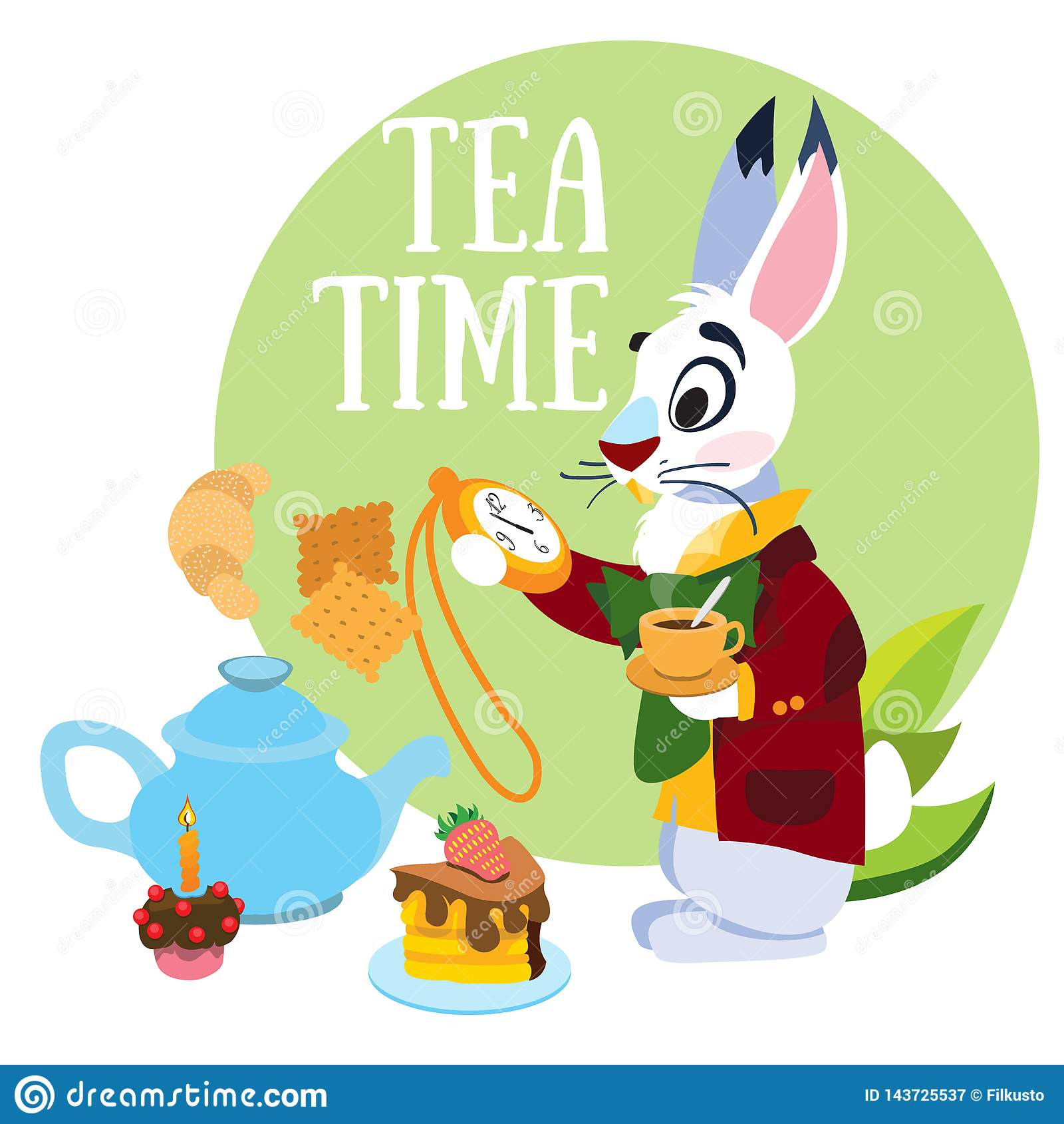 White Rabbit Hurrying To The Mad Tea Party Illustration