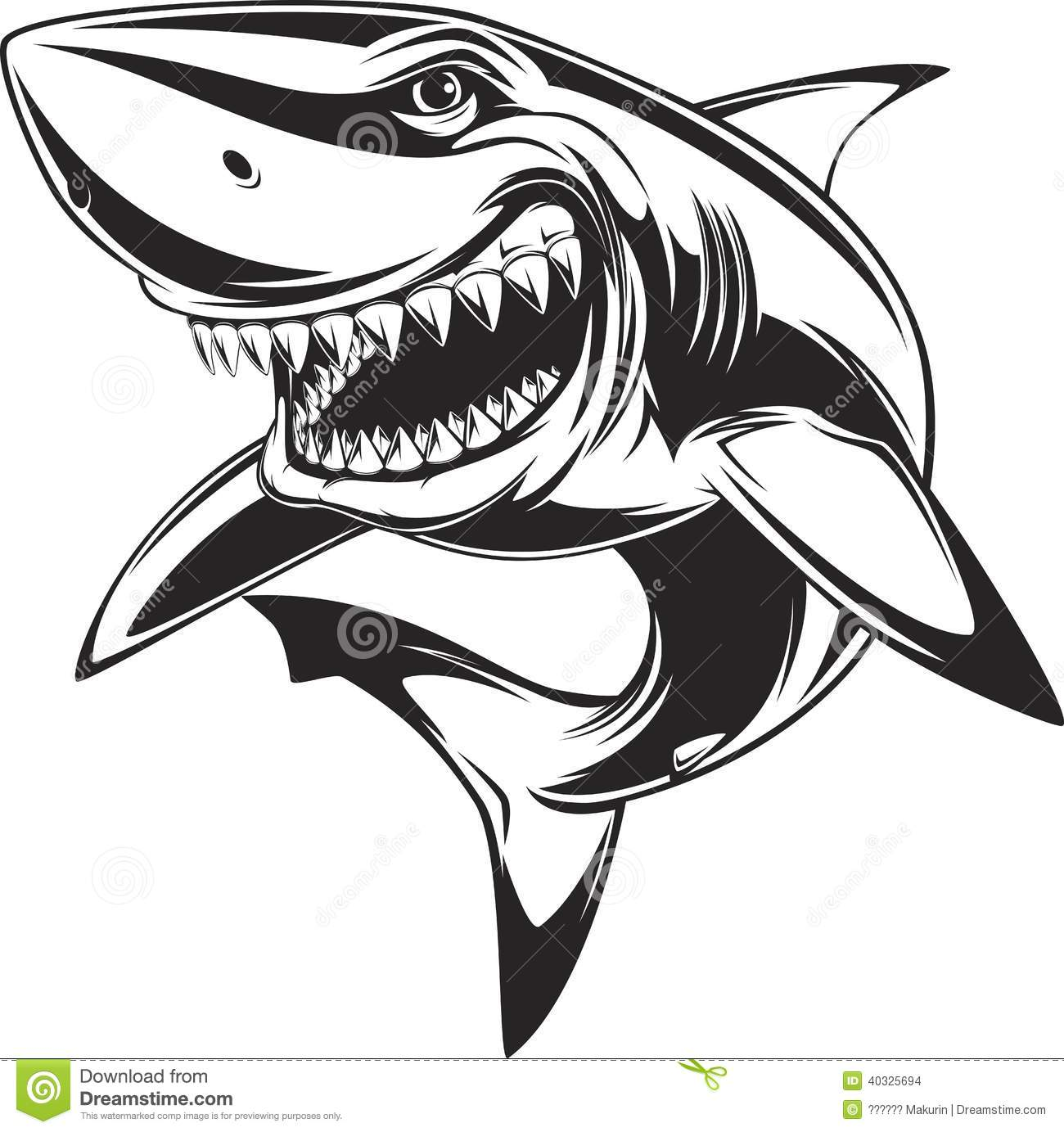 White Shark Stock Vector Illustration Of Happy Isolated