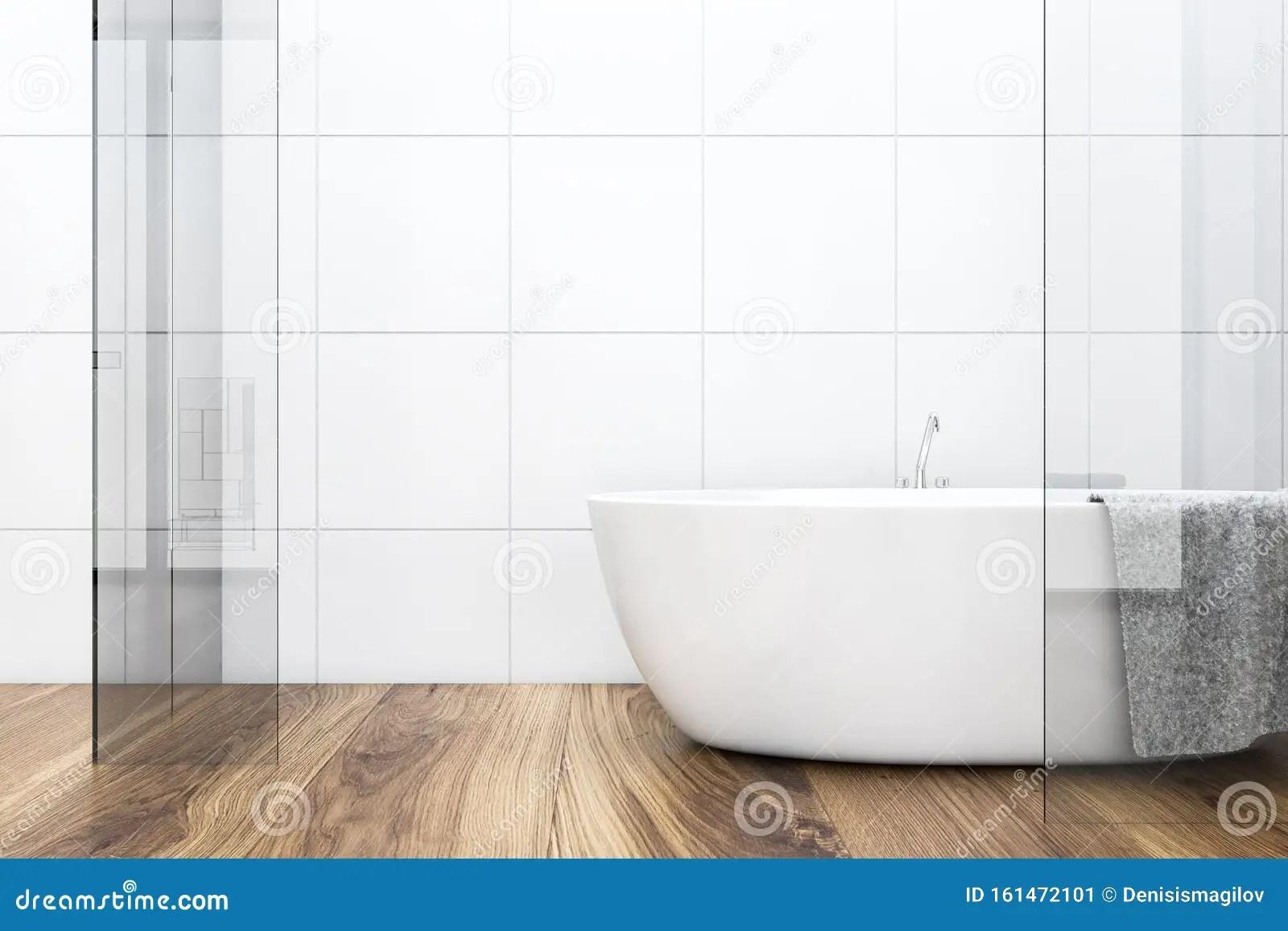 https www dreamstime com white tile wooden floor bathroom interior comfortable glass walls bathtub towel hanging d rendering image161472101