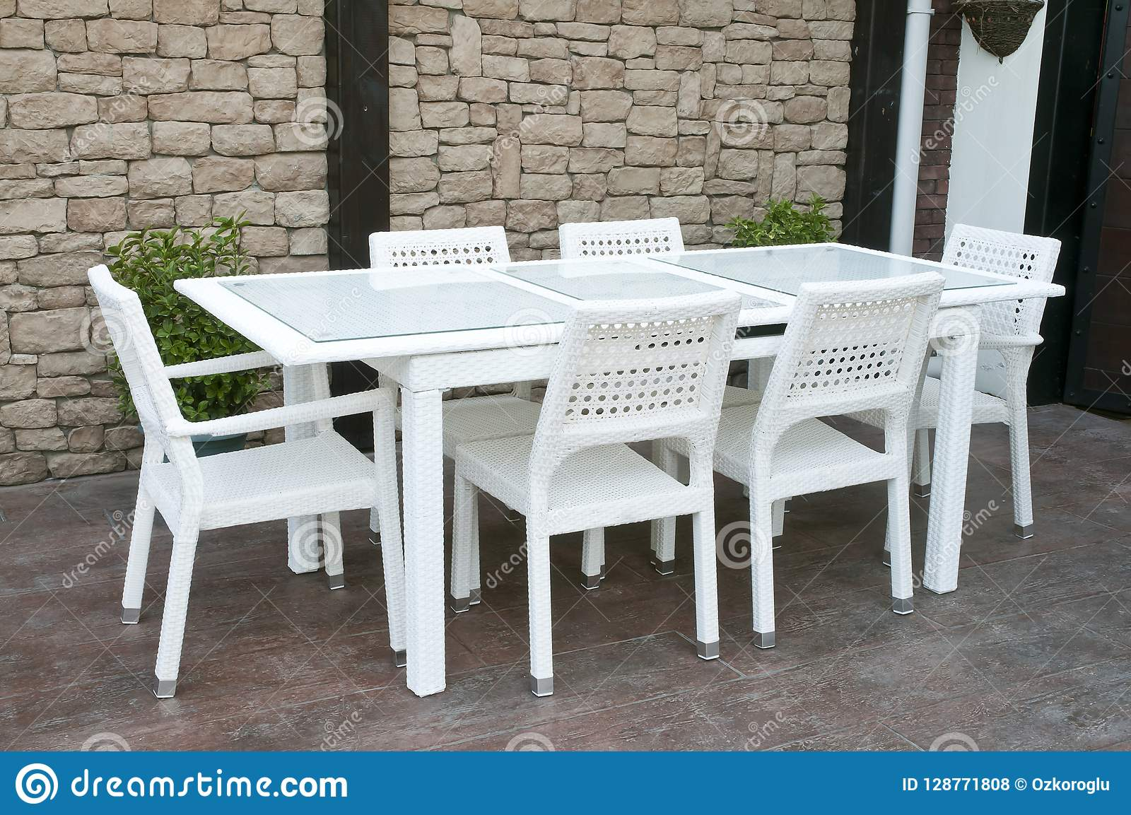 https www dreamstime com white wicker patio dining set picture some high quality outdoor cane rattan furniture resin image128771808