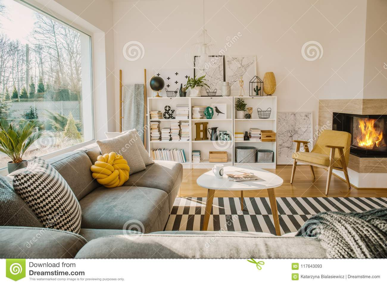 https www dreamstime com white wooden rack books decorations fresh plants simp simple posters bright scandinavian living room interior image117643093