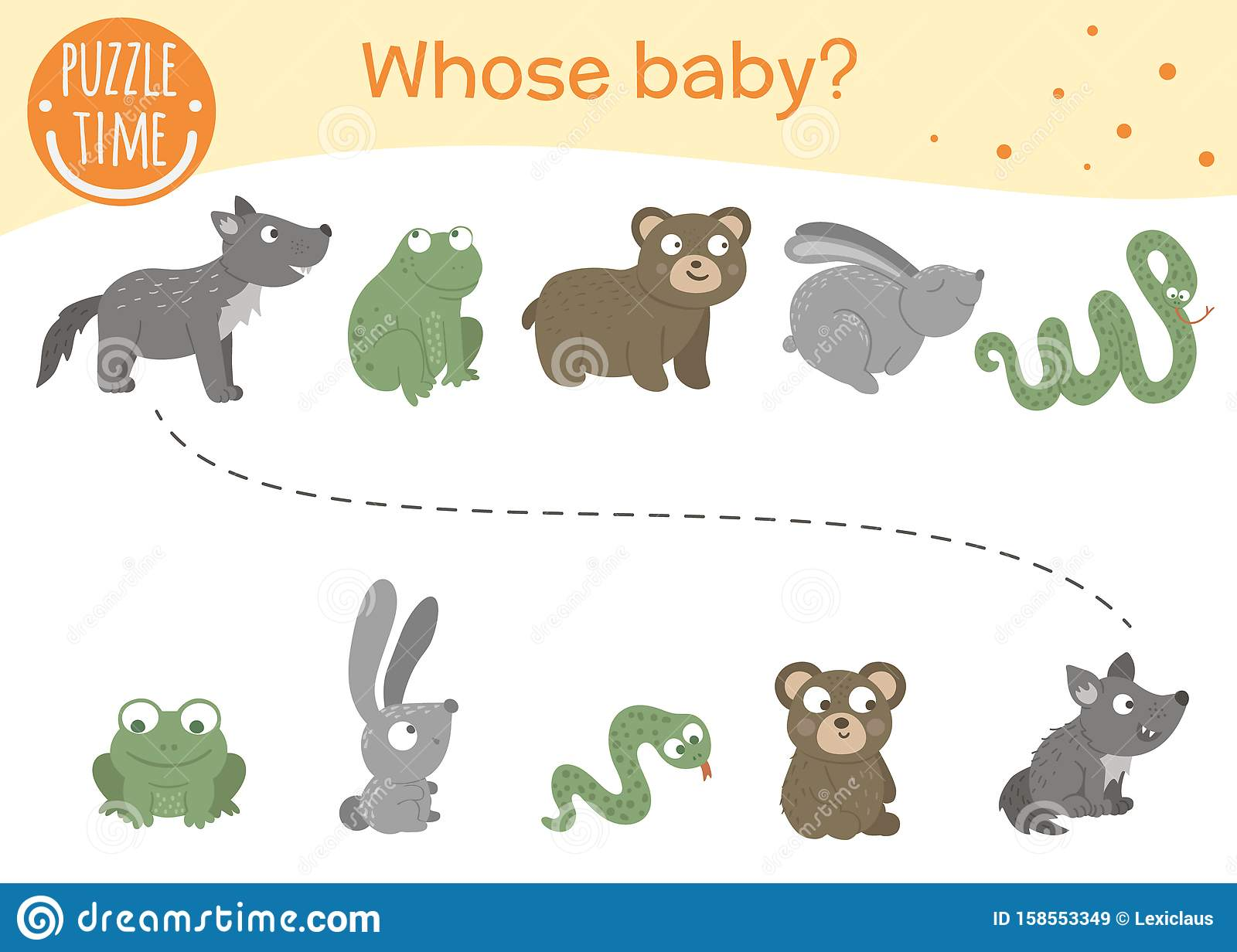 Whose Baby Matching Activity For Preschool Children Stock